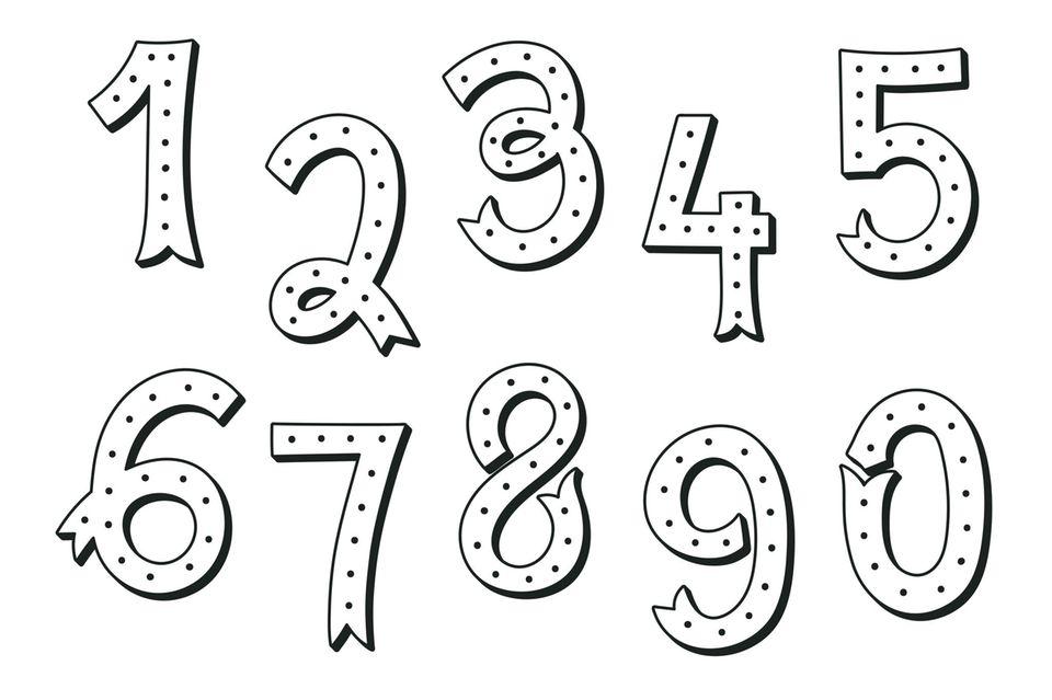 Handlettering Zahlen mit Punkten