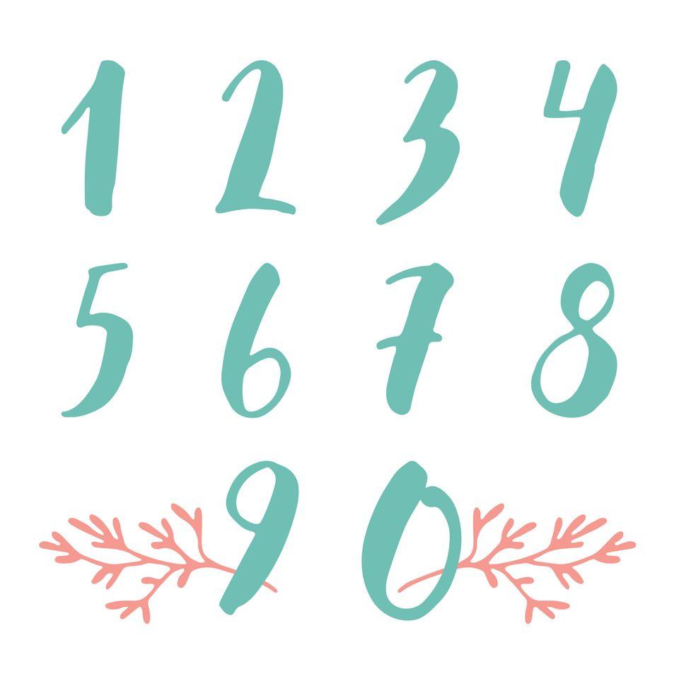 Handlettering Zahlen in grün