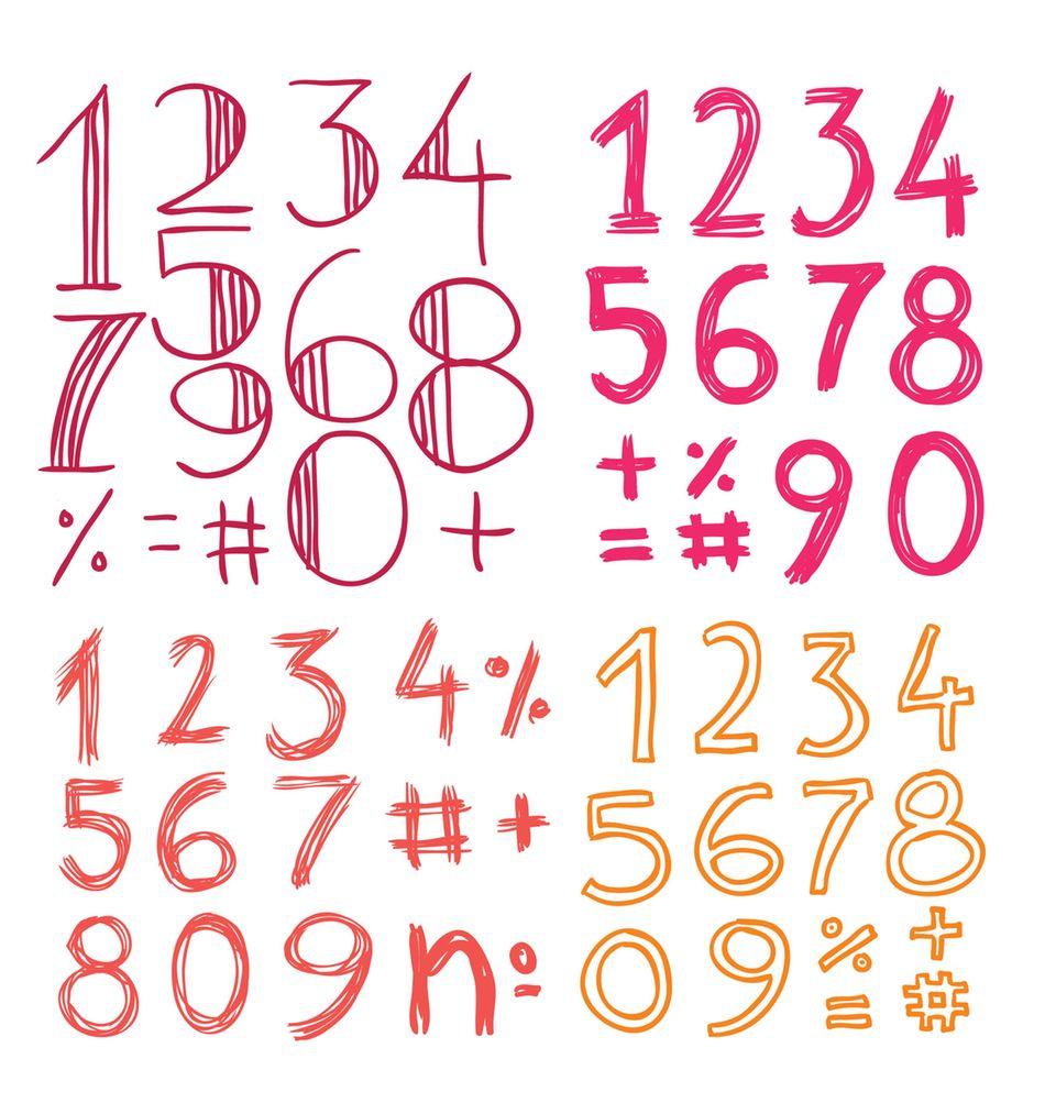 Handlettering Zahlen in vier verschiedenen Schriftarten