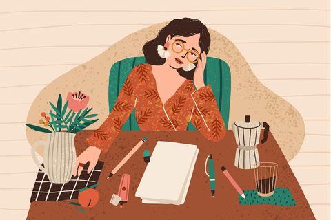 Empowered You: Grafik von Frau am Schreibtisch