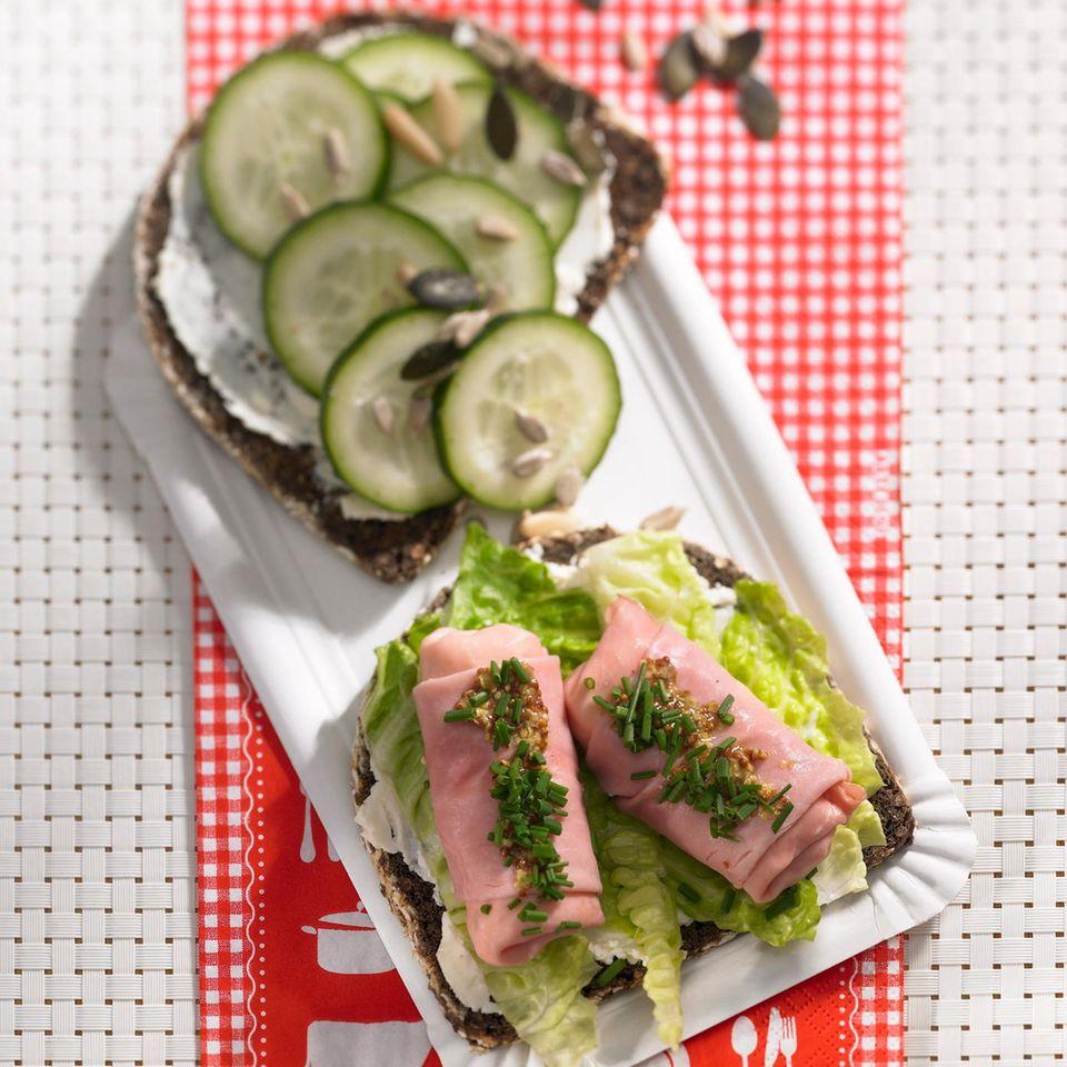 Schinkenröllchen-Sandwich