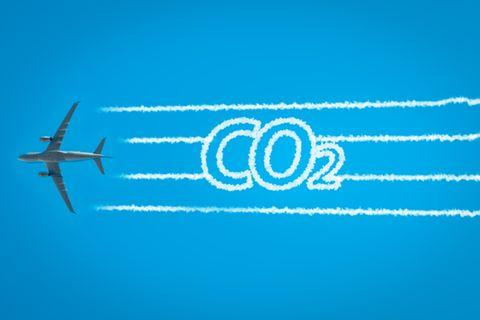 Flugzeug und CO2-Schriftzug