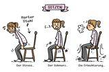 Mütter Comic: Frau sitzt auf Stuhl