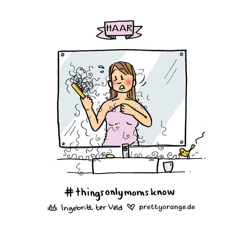 Mütter Comic: Frau mit Haarbürste