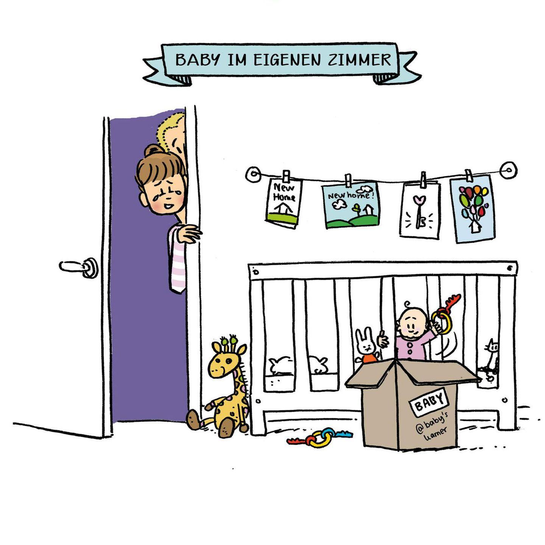 Mütter Comics: Baby im Kinderbett