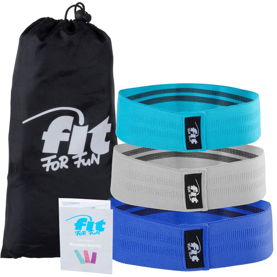 Fitnessbänder Fit for Fun in türkis, grau und blau