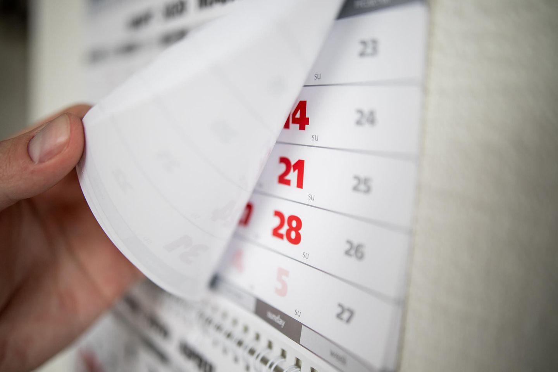 Feiertage 2021: Kalenderblatt
