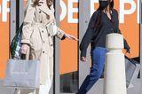 """Angelina Jolie und Tochter Zahara dürften im Luxus-Modekaufhaus """"Nordström"""" recht erfolgreich gewesen sein, das lassen zumindest die Einkaufstüten erahnen. Und was trägt man zu einem gemütlichen Bummel mit der Tochter? Angelinaentscheidet sich für einen klassischen Trenchcoat, ein beigefarbenes Leinenkleid und Sandaletten von Fendi. Ihre 16-jährige Tochter setzt hingegen auf sportliche Sneaker, Jeans und eine schwarze Bluse."""