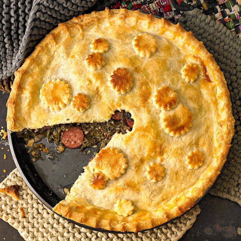 Grünkohl-Pie mit Kochwurst