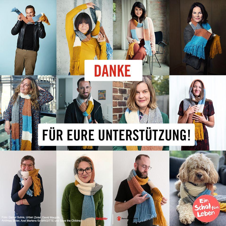 Unterstützer tragen den Schal fürs Leben