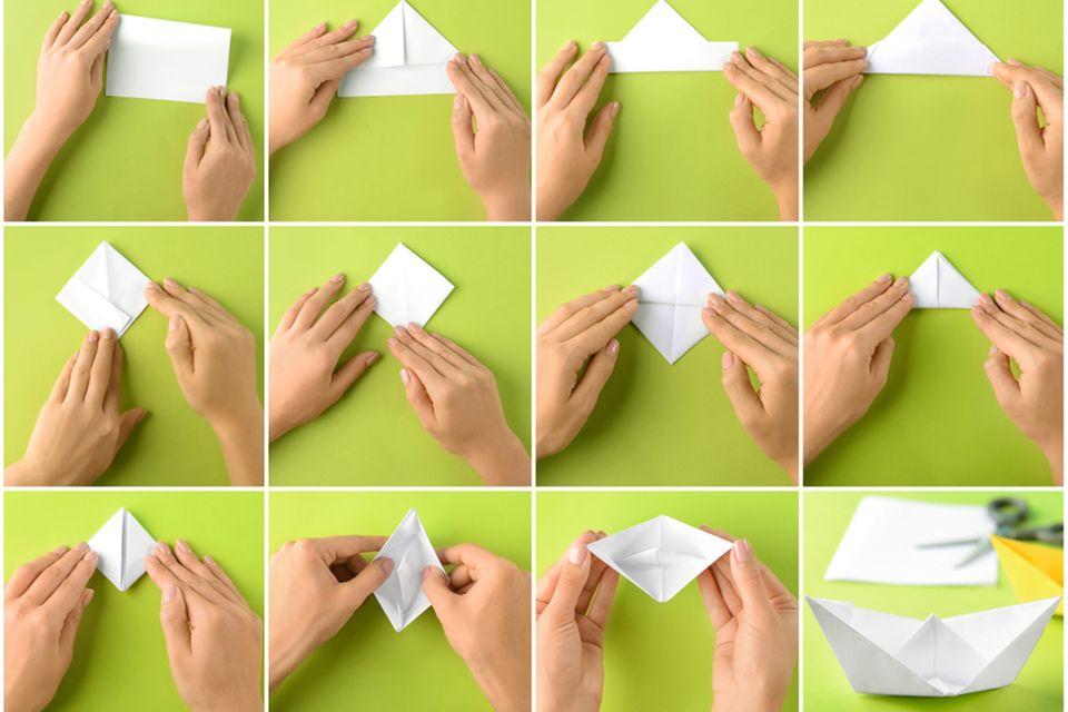 Hochzeitsgeschenk basteln: Anleitung für Origami-Schiffchen