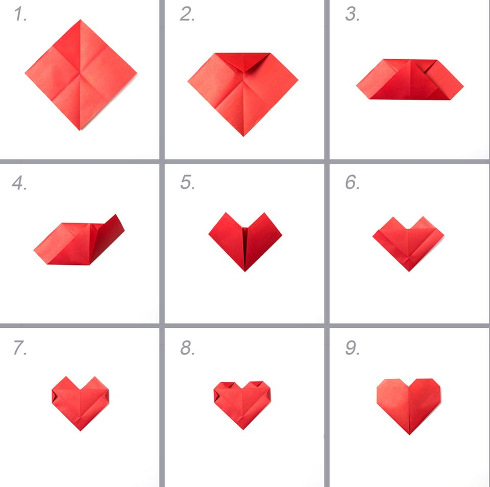 Hochzeitsgeschenk basteln: Origami-Anleitung für ein Herz