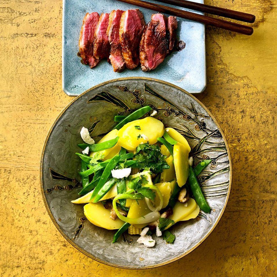 Kartoffelsalat mit Wasabi-Dressing und Entenbrust