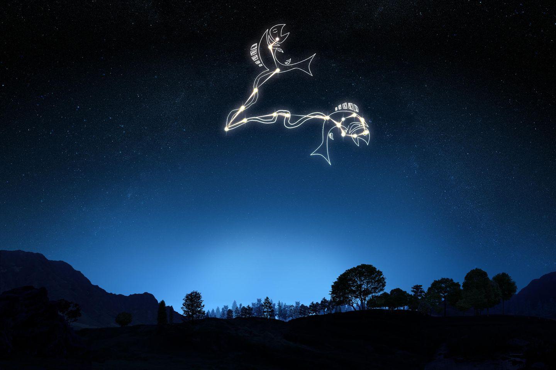 Horoskop: Sternzeichen Fische am Nachthimmel