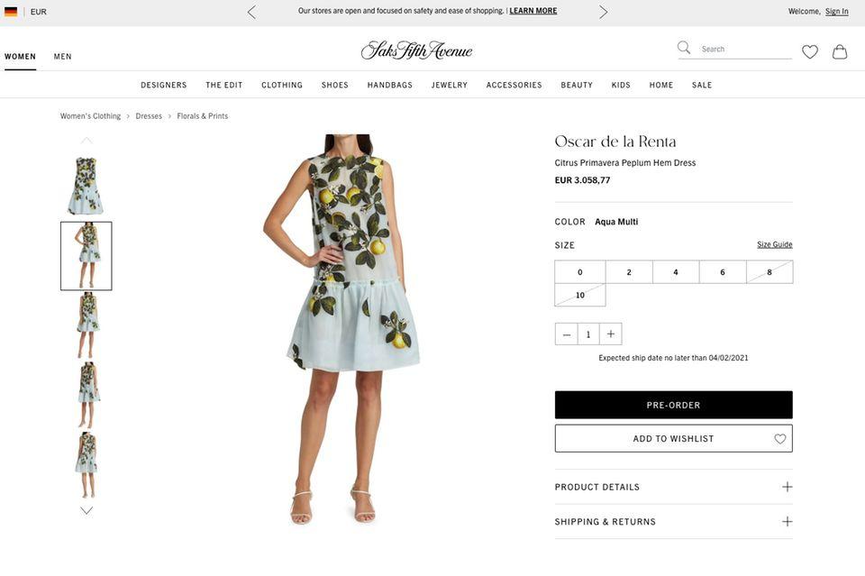 Momentan ist das Kleid mit Zitronenapplikationen nur vorbestellbar.