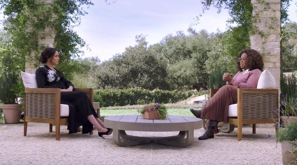 Meghan und Oprah führen das Interview in der neuen Wahlheimat von ihr und Prinz Harry, Kalifornien.