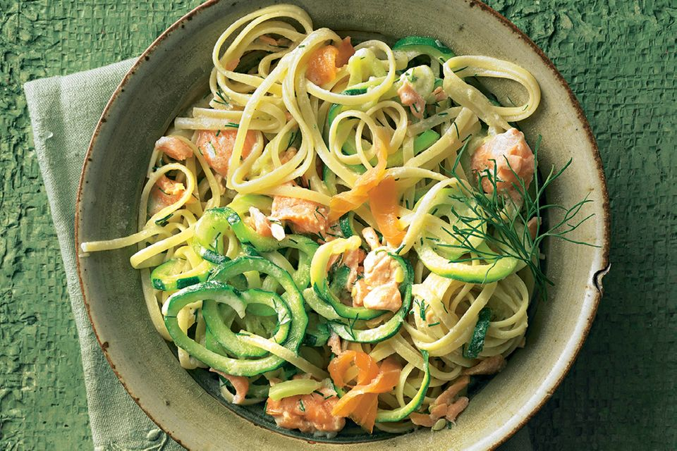 Zucchini linguine with two types of salmon