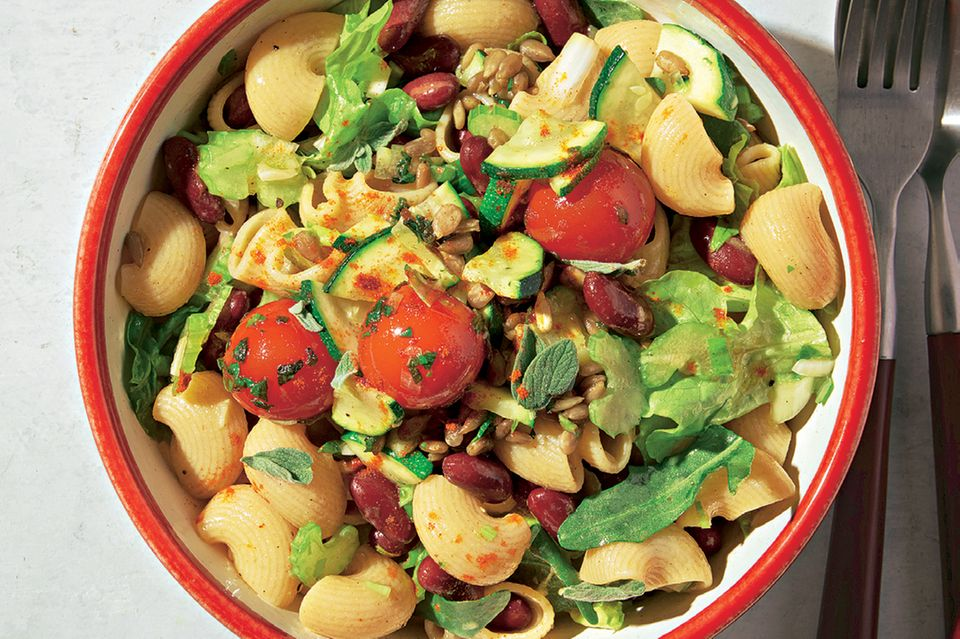 Warm pasta salad with braised vegetables