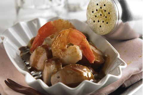 Currywurst mit Garnelen