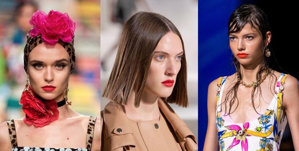 Mit knalligem Lippenstift überzeugten Dolce Gabbana in Mailand, Hermes inParis und Versace in Mailand.