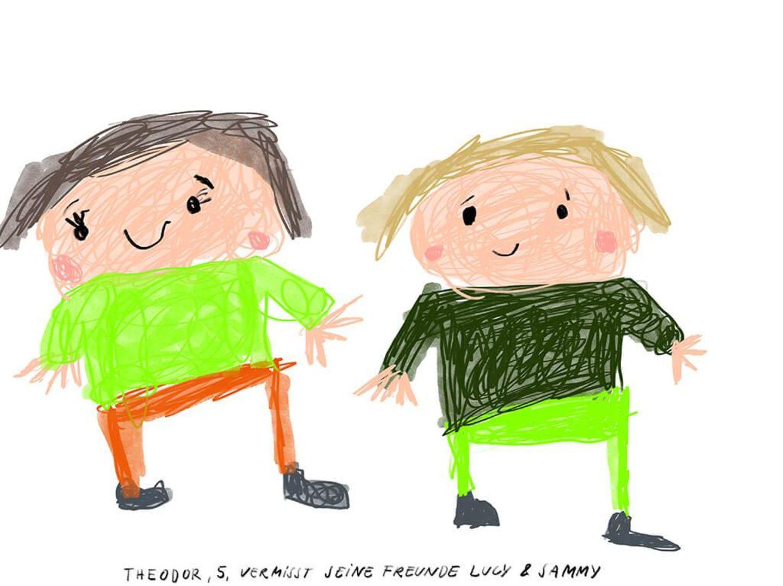Kinder malen: Theodor vermisst seine Freunde