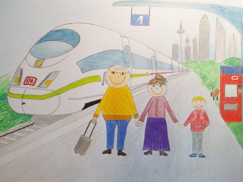Kinder malen: Ausflug mit Opa und Oma