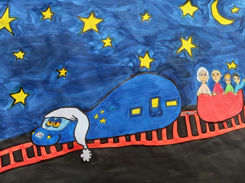 Kinder malen: Mit der Familie im Nachtzug