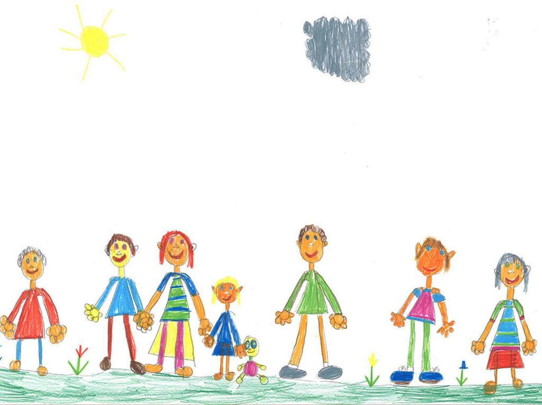 Kinder malen: Familienausflug