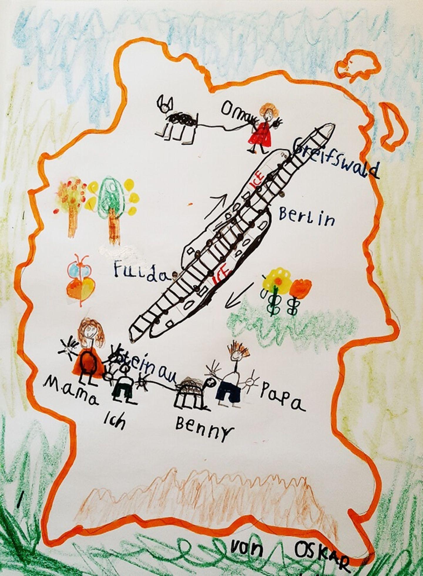 Kinder malen: Oma besuchen