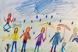 Kinder malen: Familie im Regen