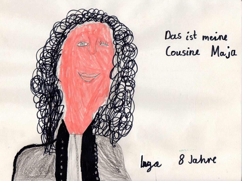 Kinder malen: Wiedersehen mit Cousine Maja