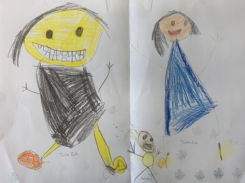 Kinder malen: Besuch bei den Tanten