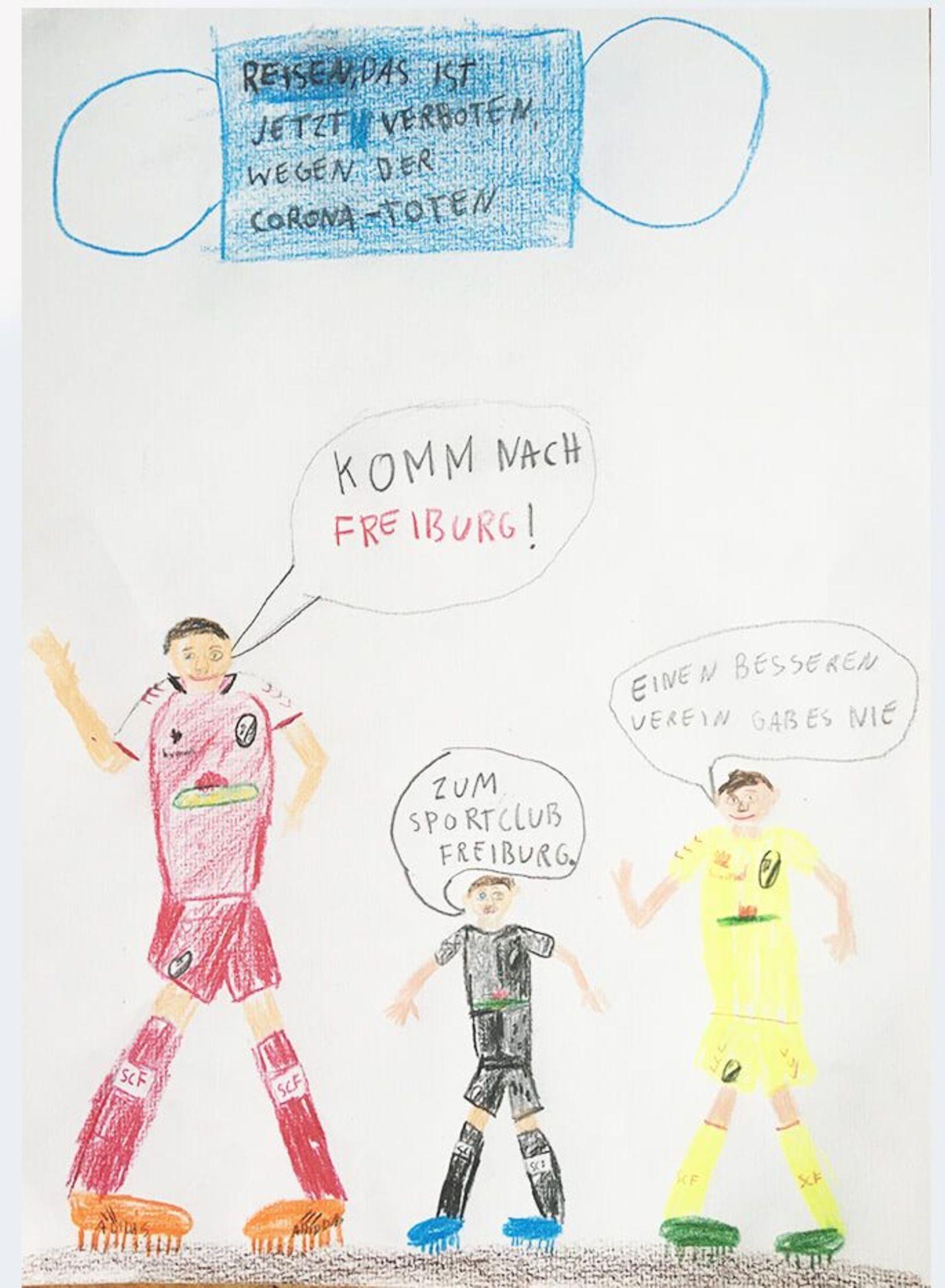 Kinder malen: Besuch im Fußballstadion