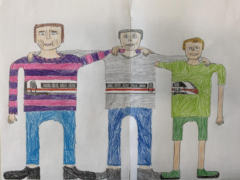 Kinder malen: Männerfreundschaft