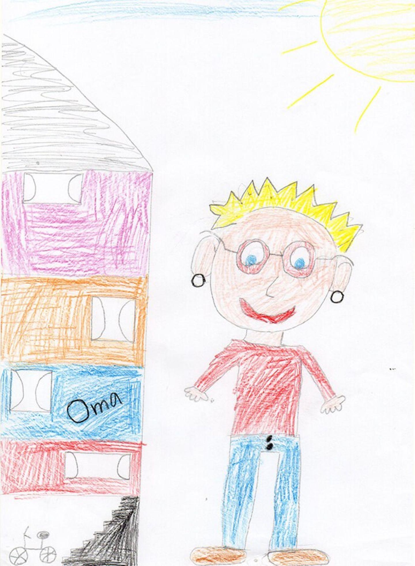 Kinder malen: Besuch bei Oma