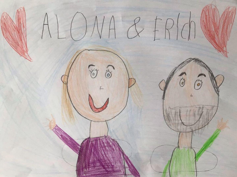 Kinder malen: Wiedersehen mit Alona und Erich