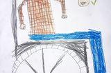 Kinder malen: Besuch beim Uropa