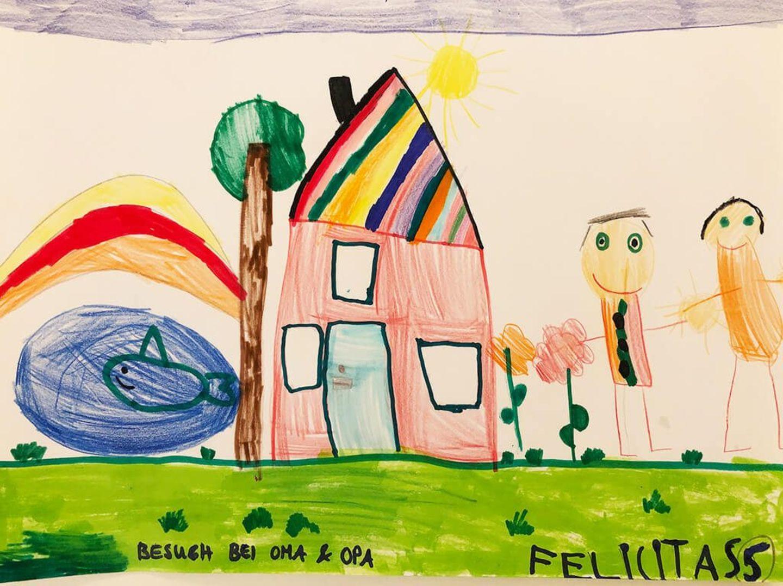 Kinder malen: Besuch bei Oma und Opa