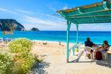 Strand, Restaurant mit Menschen, Meer, wegträumen