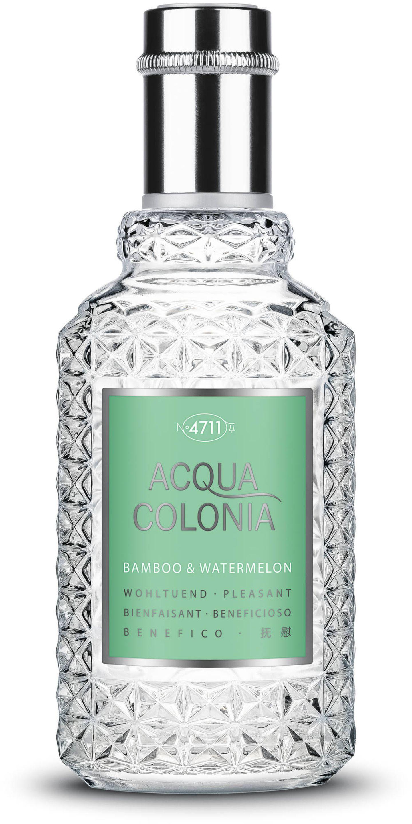 4711 Acqua Colonia Bamboo & Watermelon ist eineder neuen Duftkompositionen der 4711 Acqua Colonia Limited Edition 2021.Grüne Bambusnoten in Kombination mit dem zart-süßlichen Aroma der Wassermelone geben uns einen fruchtigen Frischekick. Für etwa 17 Euro erhältlich.