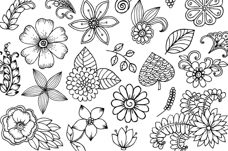 Doodles zeichnen: Blumen-Skizzen