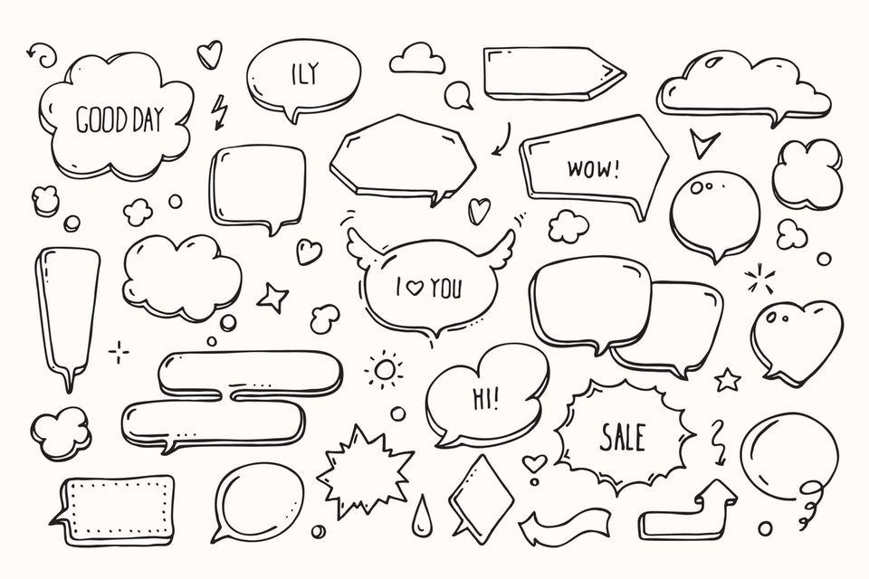 Doodles zeichnen: Handgezeichnete Sprechblasen