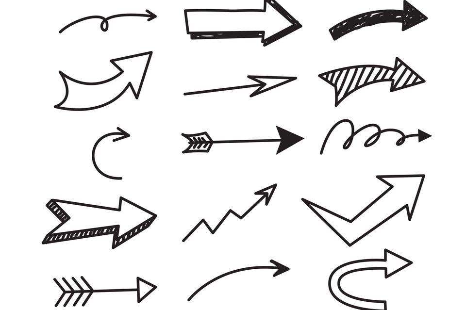 Doodles zeichnen: Handgezeichnete Pfeile