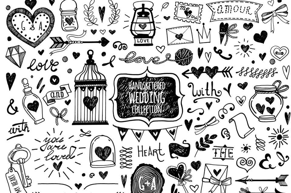 Doodles zeichnen: Romantische Skizzen