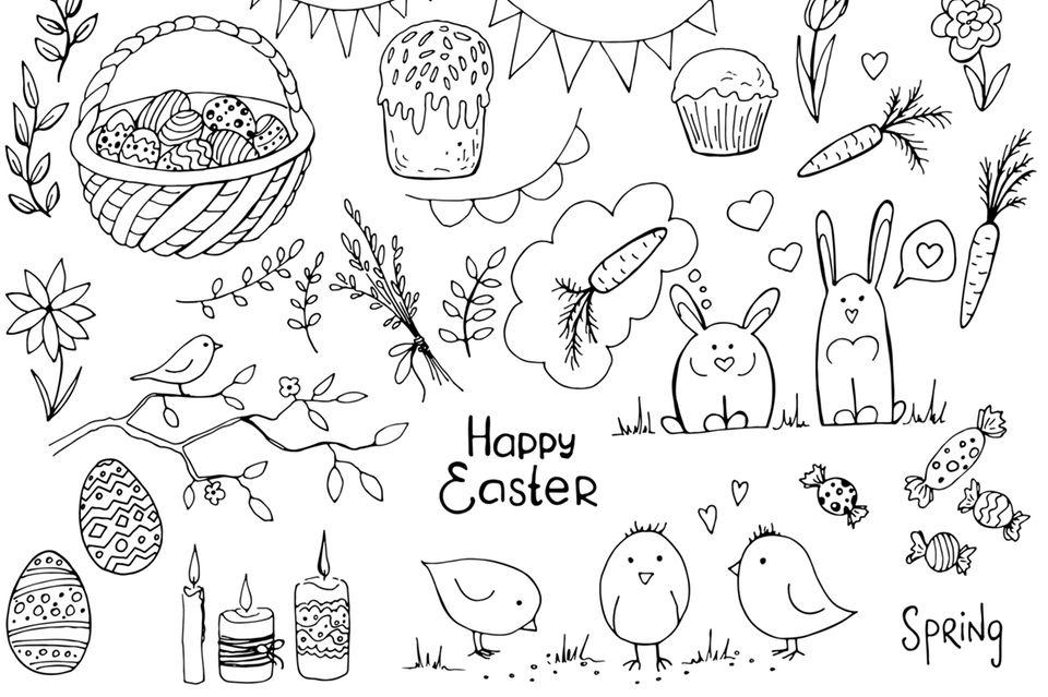 Doodles zeichnen: Osterliche Skizzen