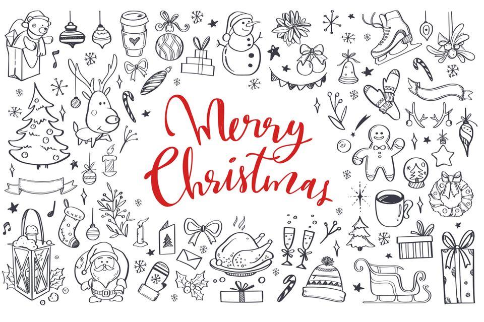 Doodles zeichnen: Weihnachtliche Skizzen