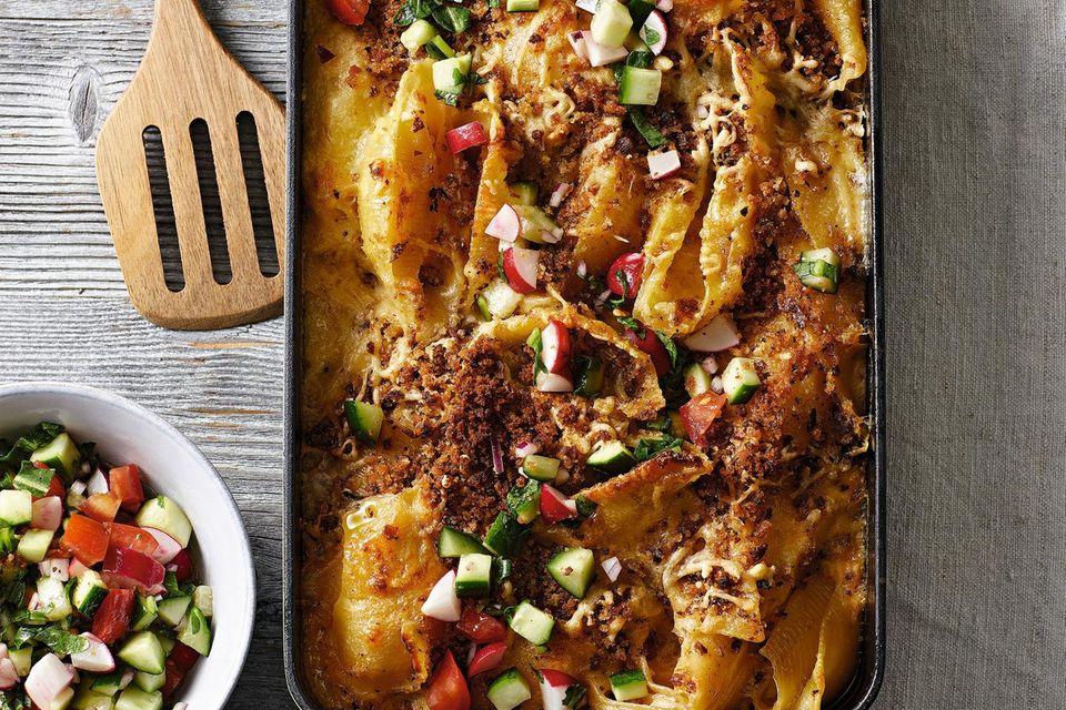 Lieblingsrezepte der Woche: Nudel-Käse-Auflauf mit Salat-Topping