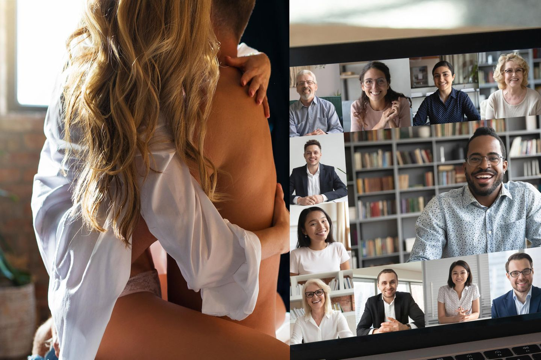 Sätze für Videocall und Sex: Paar hat Sex – daneben ein Videocall