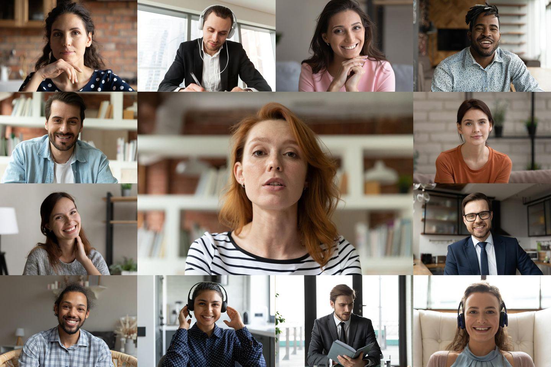 Hintergrund im Video-Meeting: Computer zeigt Video-Konferenz