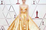 Carey Mulligan macht in dieser ausladenden Gold-Robe der berühmten Oscar-Statue Konkurrenz.